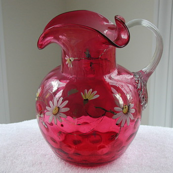 Solid Crystal Murano Owl Signed By Artist Licio Zanetti - Cranberry Glass Pitcher - Art Glass