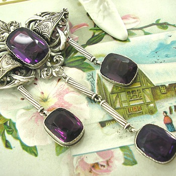 French Art Deco Amethyst Silver Brooch Unknown Maker??