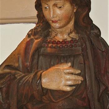 St. Rose Of Lima Antique Statue Terra Cotta - Fine Art