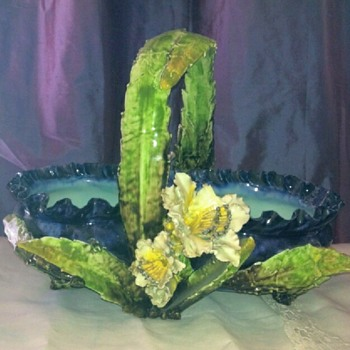 Mysterious maker: barbotine/majolica (?) flower basket. - Pottery