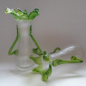 Kralik Art Nouveau Floriform Vases with Handles - Art Glass