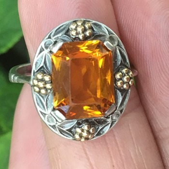 Bernard Instone Silver Citrine Ring - Arts and Crafts