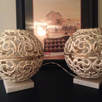 Vintage Filigree style lamp pair...Italy made.