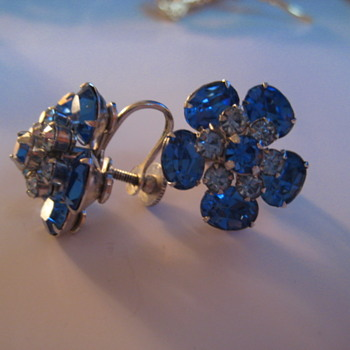 Pair of CORO Blue and Clear Rhinestone Earrings - Costume Jewelry