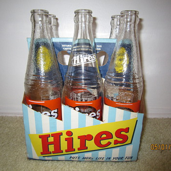 Late 1940's Early 1950's Hires Root Beer Bottle 6-Pack - Bottles