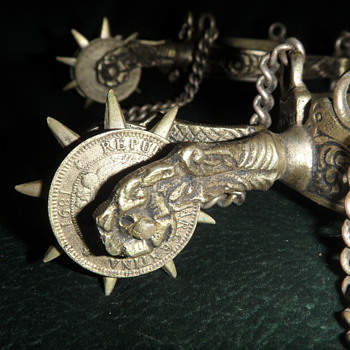Antique Ornate Argentina Spurs with Coins