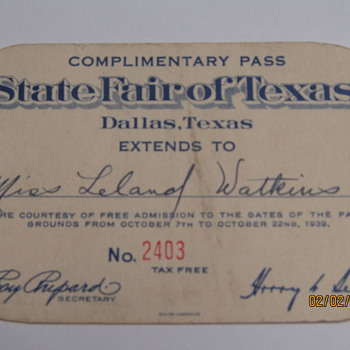 1939 Texas State Fair Ticket.. - Cards