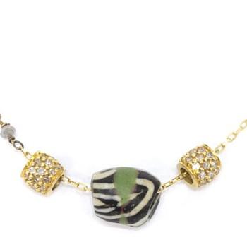 RARE 18K GOLD, DIAMOND, TRADE BEAD NECKLACE - Fine Jewelry