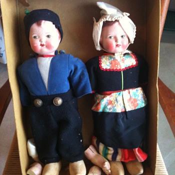 Dutch Walking Dalls circa 1940's - Dolls