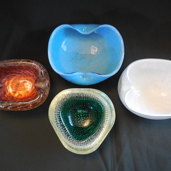 Murano Art Glass Bowl and Ashtrays New Finds and an Old Show - Art Glass