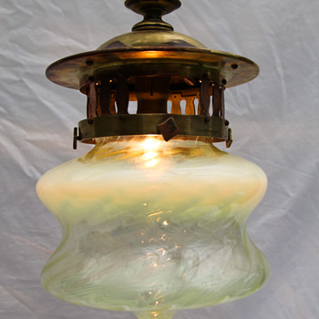 English Vaseline and Brass Hanging lamp - Lamps