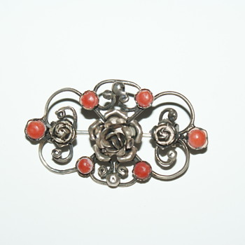 Old Silver Brooch with Coral Embellishments  - Fine Jewelry