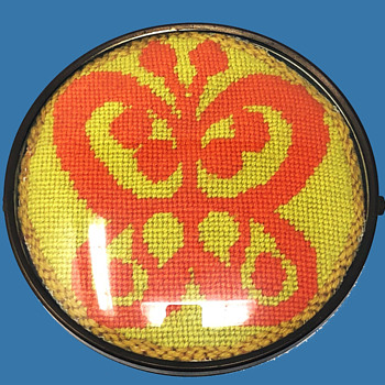 "Hippie Folk Art: 1972 Yellow & Orange Butterfly Needlepoint in Round Dome. 6.25"" Clock Case.  - Folk Art"