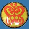 """Hippie Folk Art: 1972 Yellow & Orange Butterfly Needlepoint in Round Dome. 6.25"""" Clock Case."""