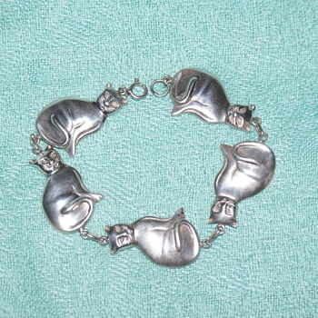 Vintage Kitty Cat Bracelet 925  - Fine Jewelry