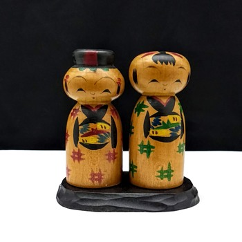 Vintage Japanese Takasago Wooden Hand Painted Kokeshi Dolls with Original Base - Dolls