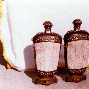 11 inch carved ivory or bone and metal snuff bottles