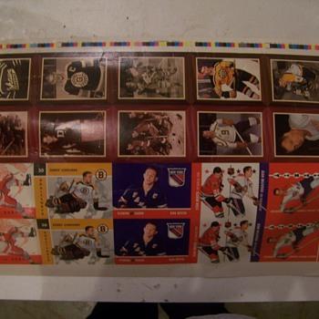 Parkhurst Prototype uncut Hockey Card Sheets 1966-67 - Hockey