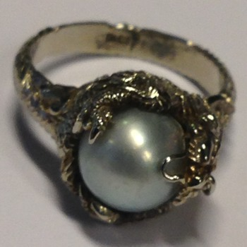White Gold and Pearl Dragon ring Circa 1940