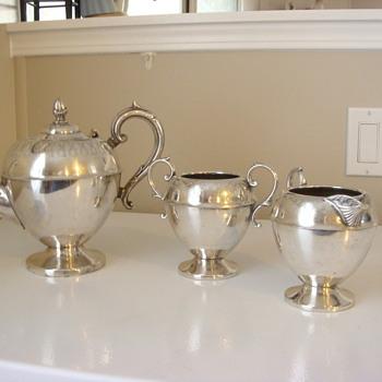 antique sterling tea set - Silver