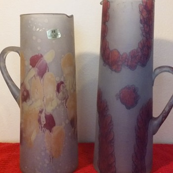 two hand-painted art glass martini pitchers, made in Israel - Art Glass