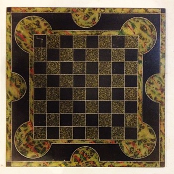 Antique 1800's Slate Multi-Colored Chess Board.   - Games