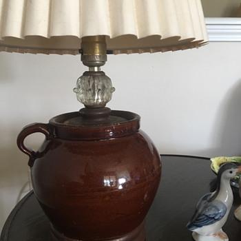 Vintage Brown Jug Lamp - Lamps