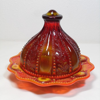 Summit Glass ~ Beaded Holly Covered Condiment ~ Sunset Slag - Art Glass