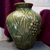 Olive Green/Gold Blended Glaze Majolica Style Vase /Blue dash mark/ Victorian/McCoy/Weller ??