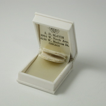 white book ring box with diamond logo and 2 store addresses - Fine Jewelry