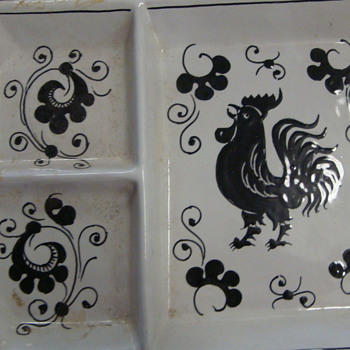 Rooster plate divided-states Grazia Deruta Italy - Pottery