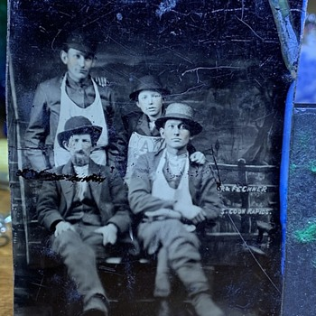 Antique Tintype Men Of Business With Logo Apron - Photographs