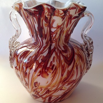 Victorian Peloton glass vase with unusual brown threads & applied handles - Art Glass