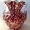 Victorian Peloton glass vase with unusual brown threads & applied handles