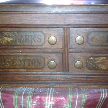 Wonderful Old Spool Cabinet  Oak