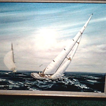 "Another Big Boat Painting /Sailboats 46"" x 35 ""/ Signed Jon Sebastian/ Circa 1980-90's"