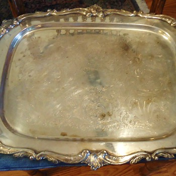 NEED HELP from silver specialist!!!  Cheap tray from thrift store 7.8 lbs. Sterling? - Silver