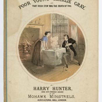 c 1870-1890 ERA SHEET MUSIC, HUBBY IS IN GREAT PAIN (THAT IRISH STEW, WAS THE DEATH OF YOU!) ART FAMED CONCANEN - Music Memorabilia