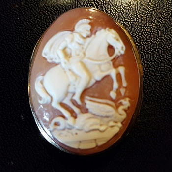 St George Slaying a Dragon Antique Italian Cameo - Fine Jewelry