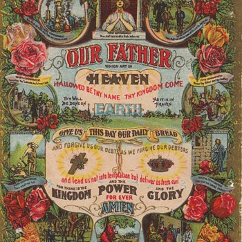 Victorian Lithograph Lord's Prayer - Victorian Era