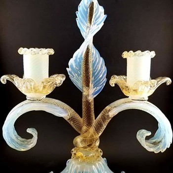 Italian Opal Art Glass Candle Holder Designed by Ercole Barovier for Barovier & Toso - Art Glass