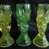 John Derbyshire uranium glass hand vases