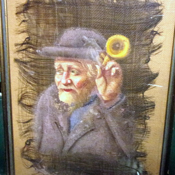 Old Man with Ear Trumpet Painted on Horse Hair - Folk Art