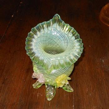Jack In The Pulpit Vase Vaseline Glass  - Art Glass