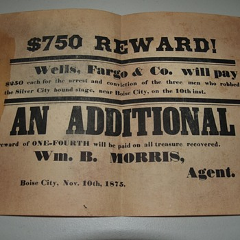 Wells Fargo Wanted Poster Wm B. Morris Agent - Advertising