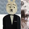"""Original 1960's Playboy Club promotional """"Kappa Rabbit"""" Felt Tuxedo Pillow Case"""