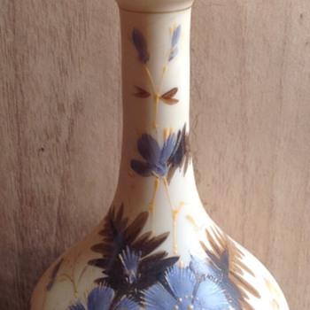 Ivory coloured custard glass vase - Art Glass