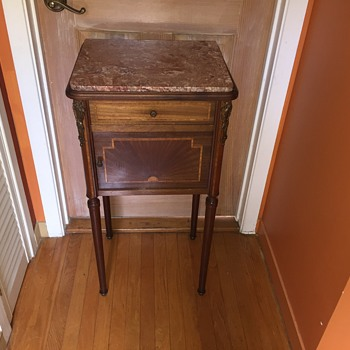 Antique French marble top and inlay commode