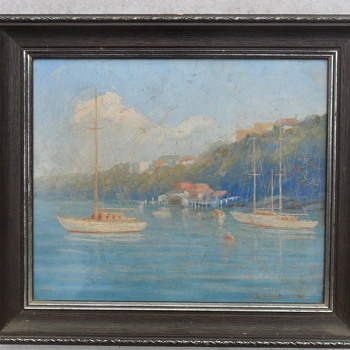 1940s Oil Painting Sydney Harbour Inlet Scene by Stephen Sims - Fine Art