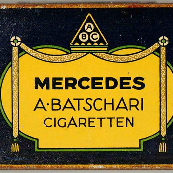 "1920's - A. Batschari ""Mercedes"" Cigarettes Tin - Tobacciana"